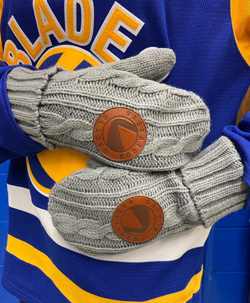 Leather Patch Grey Mitten