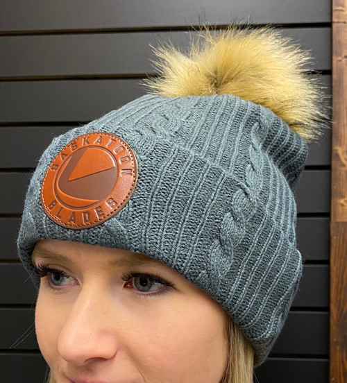 Leather Patch Grey Toque