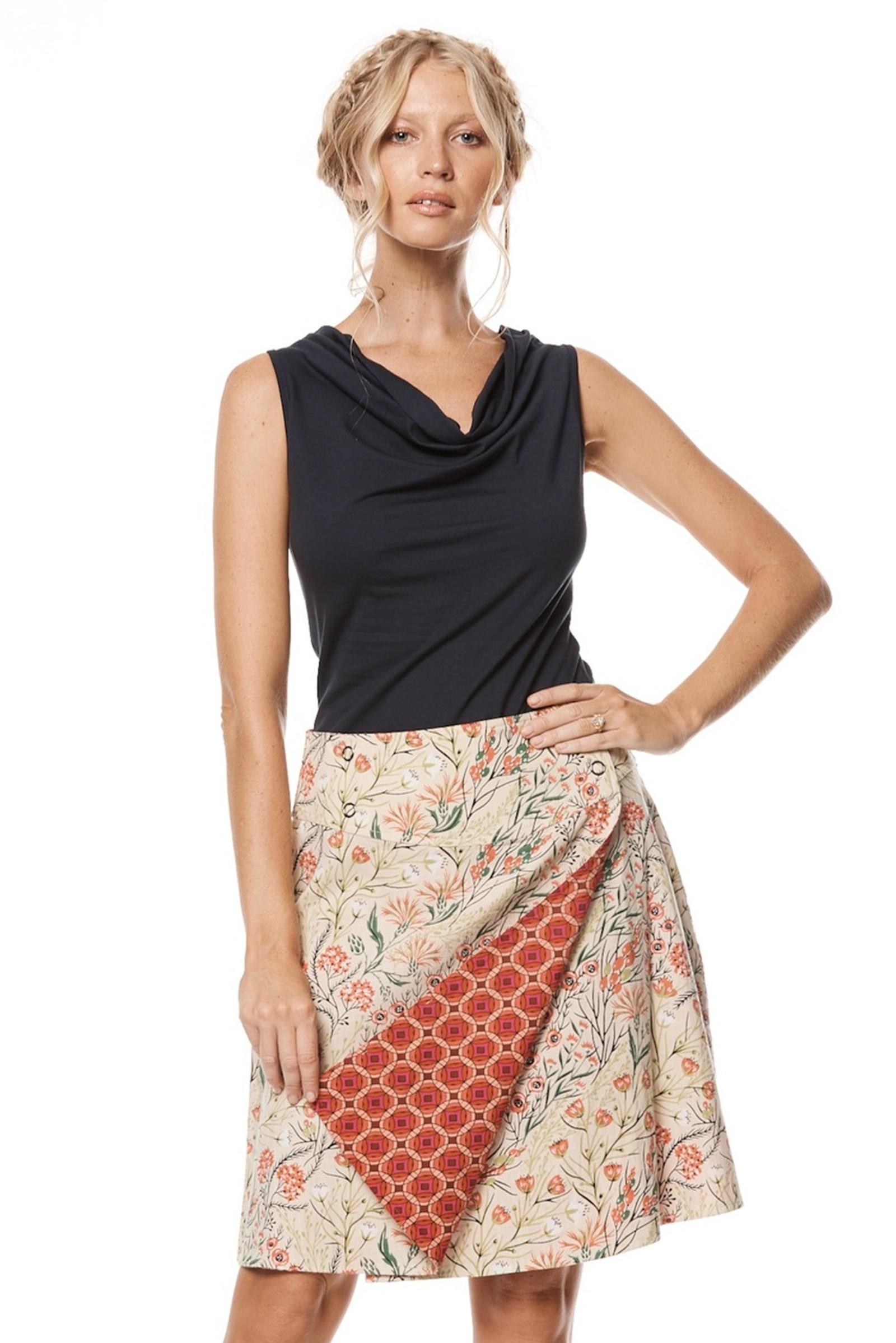 Reversible Skirt - Coral & Kaleido Peach