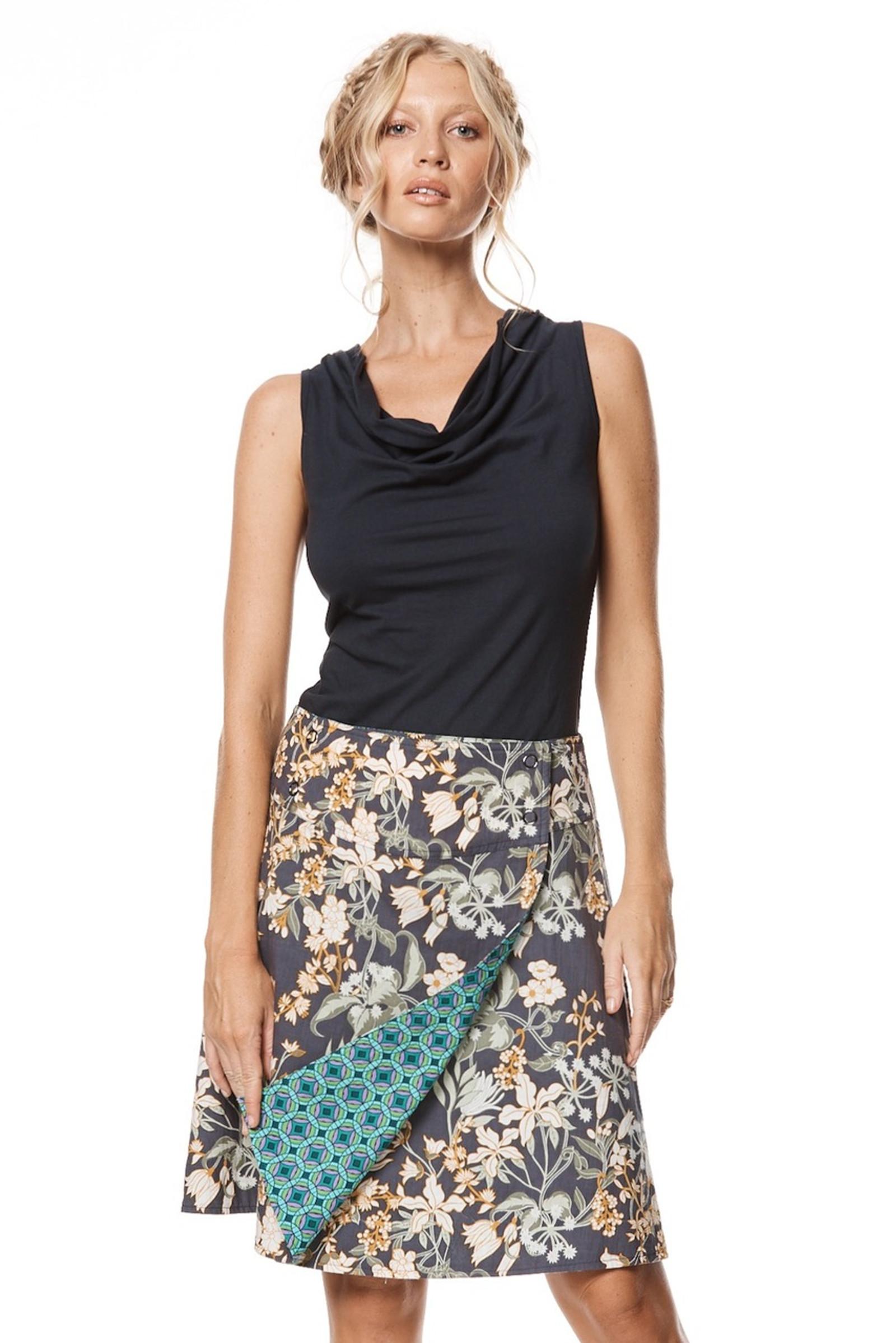 Reversible Skirt - Zinnia & Kaleido Teal