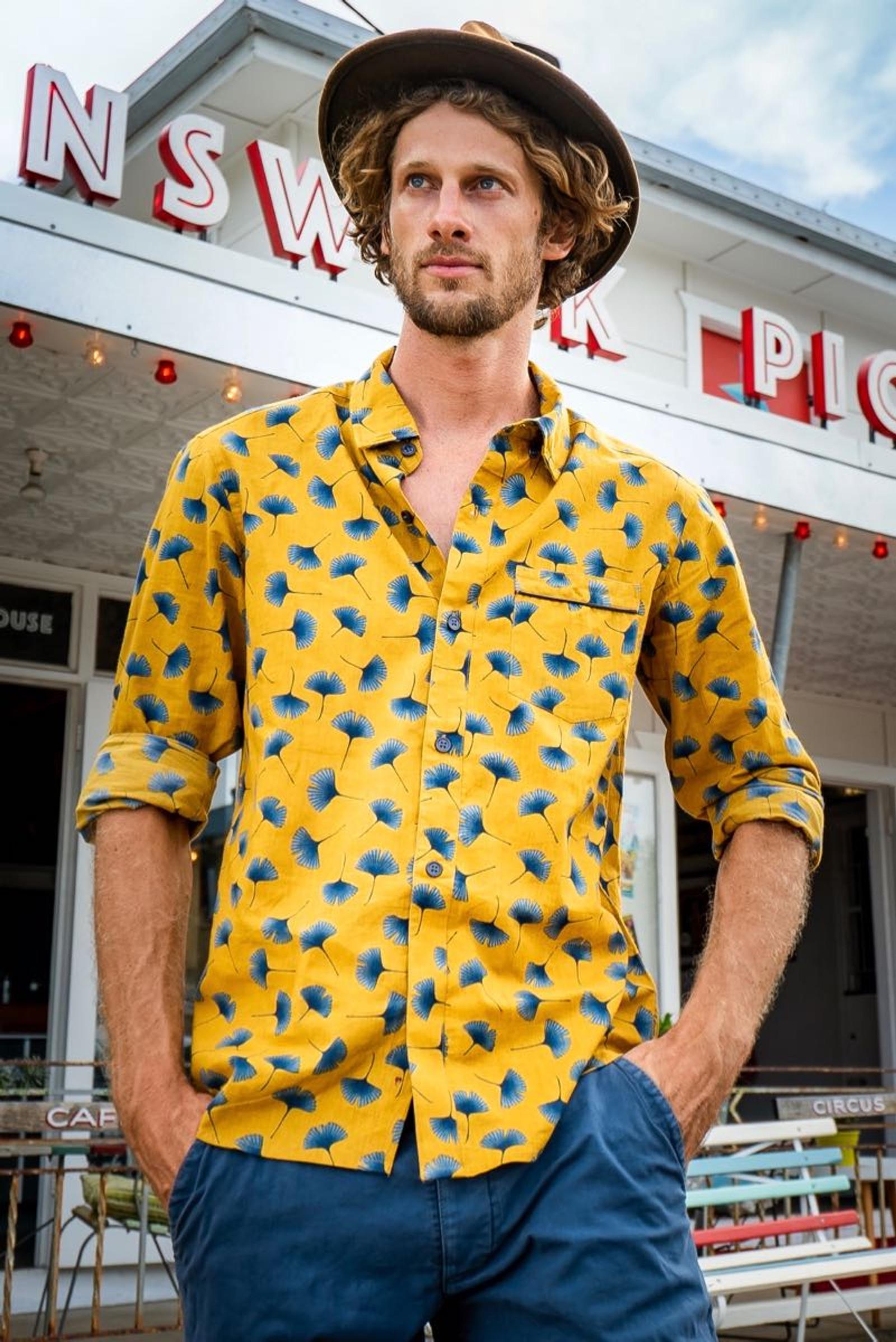 Men's Shirt Long Sleeve - Ginkgo Mustard
