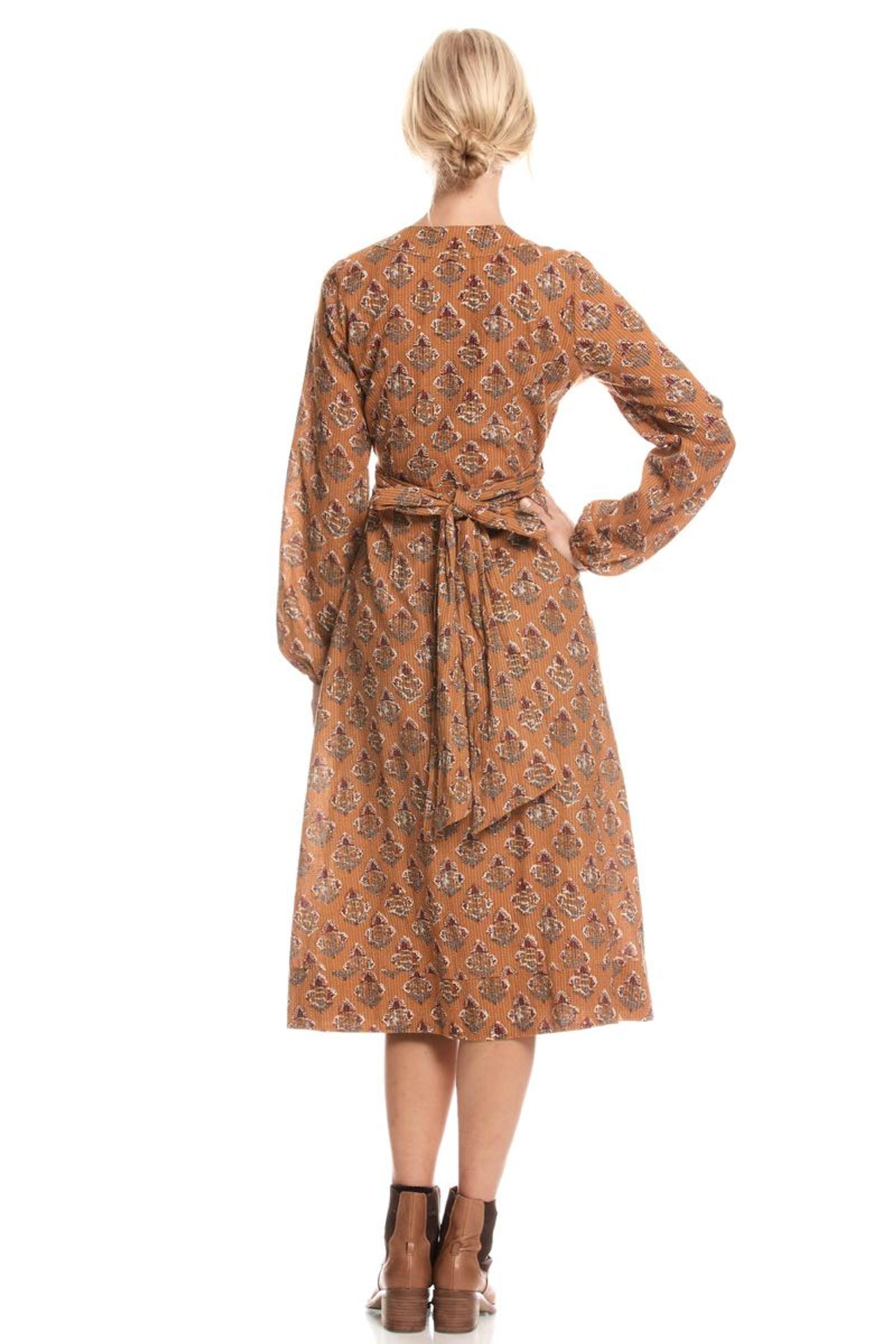 Sabina Wrap Dress Stitch - Neem