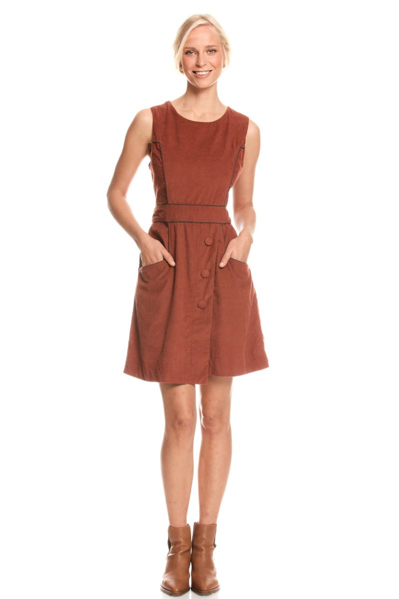Abby Dress Corduroy - Rust