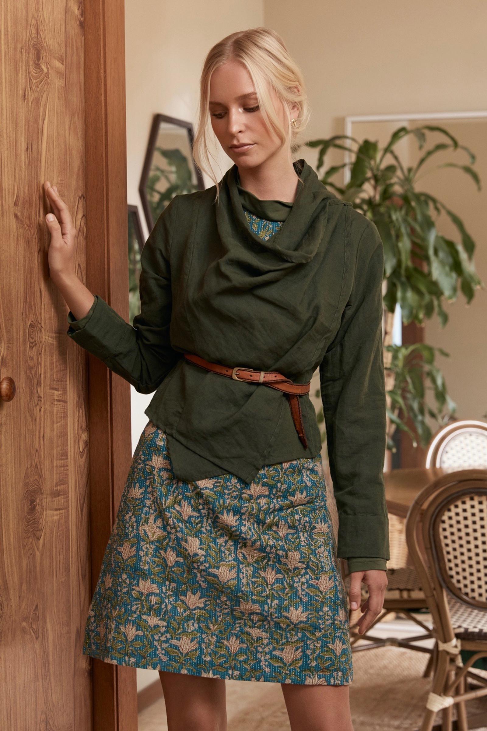 Lucy Jacket Linen - Moss