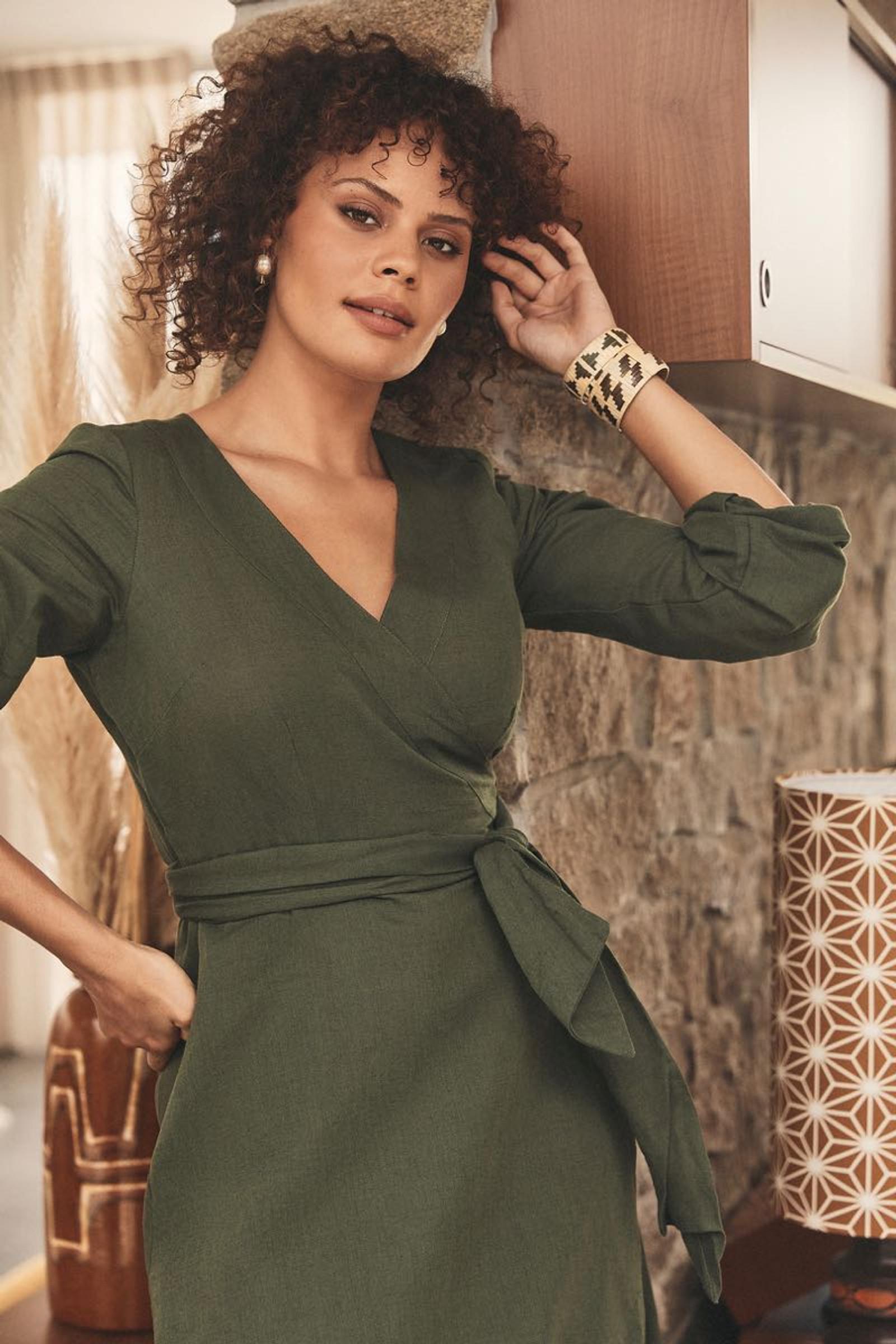 Sabina Wrap Dress Linen - Moss