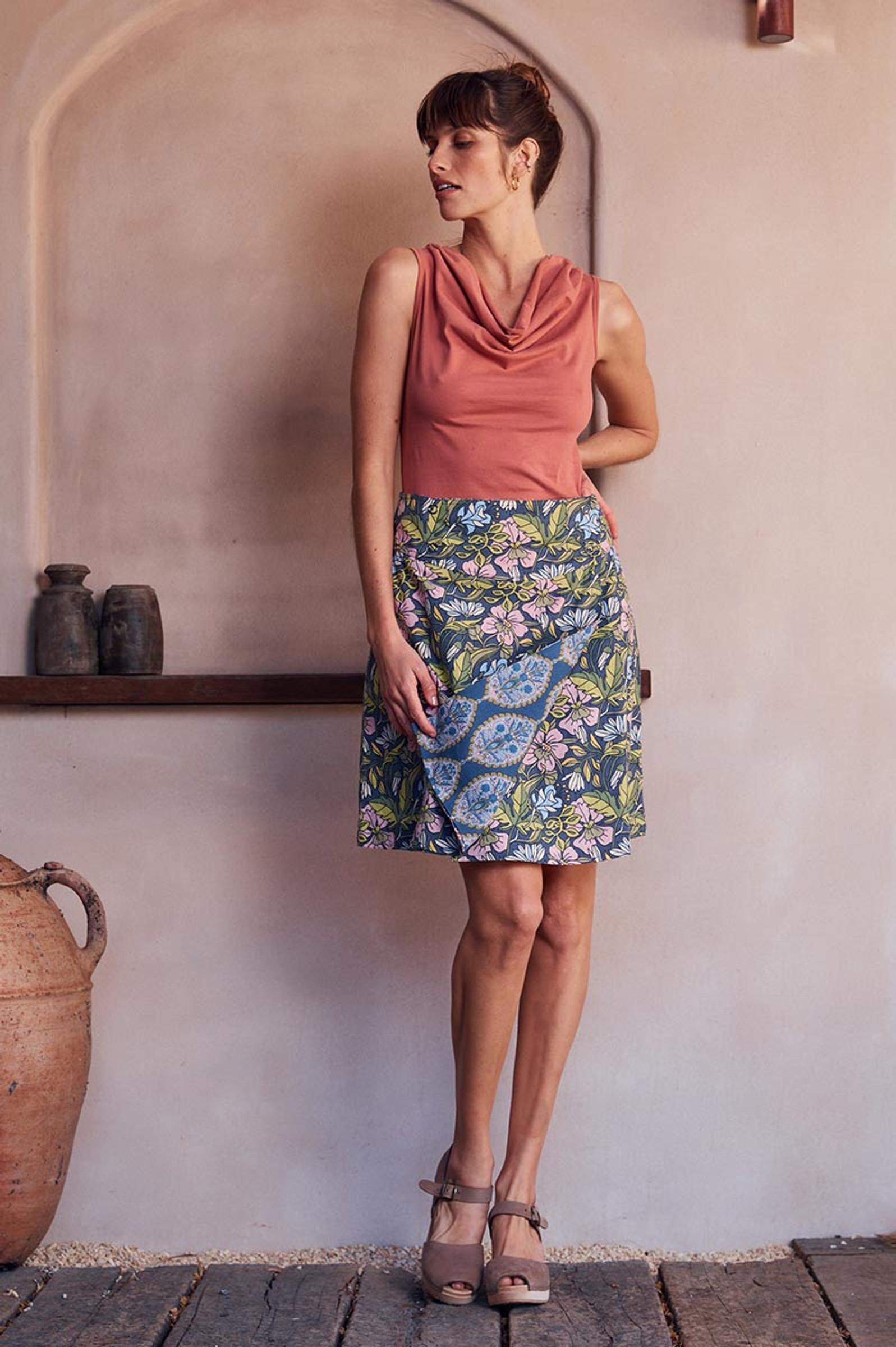 Chameleon Reversible Skirt - Hibiscus & Lapis