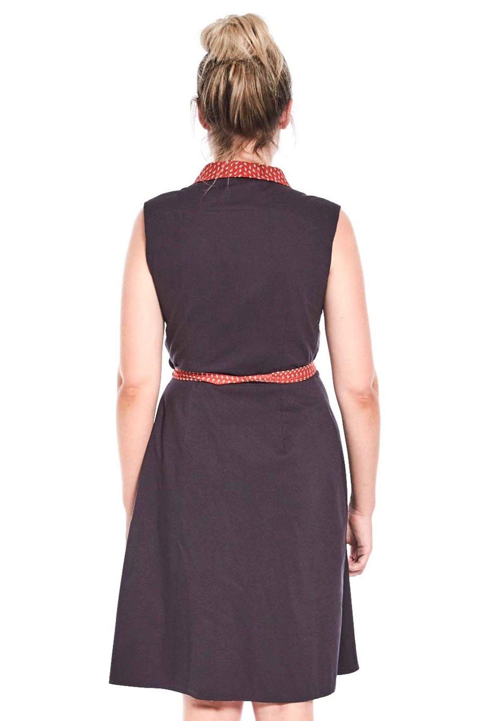 Reversible Rhianna Wrap Dress - Seed Red & Navy