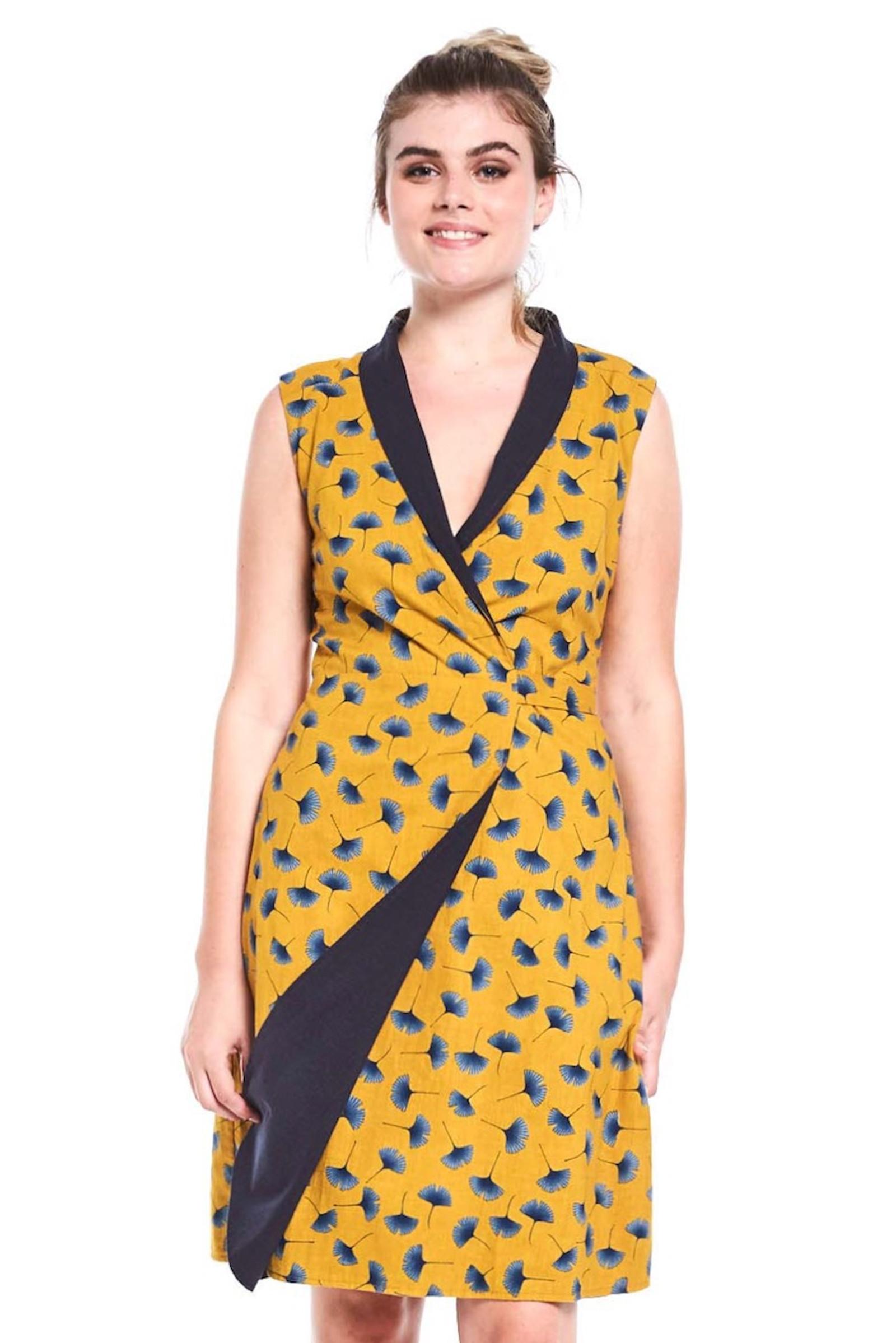 Reversible Rhianna Wrap Dress - Ginkgo Mustard & Navy