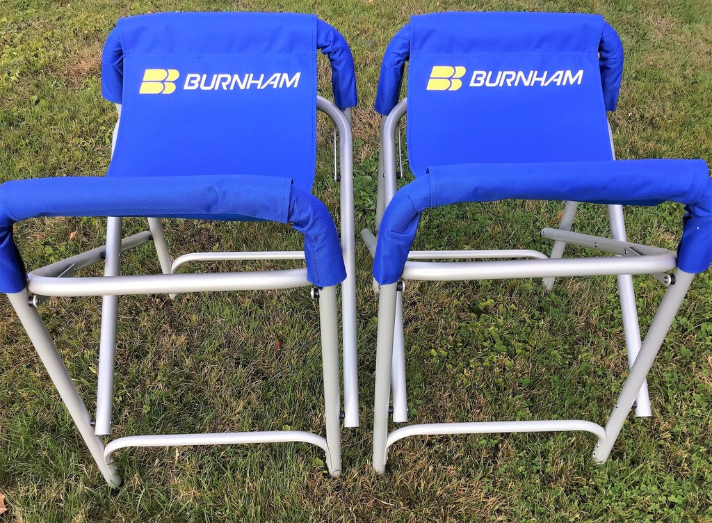 """The Burnham Original Chesapeake Slings.  The BEST slings on the market for Singles &  Doubles. Incredibly stable for daily & overnight storage.  Rigging, washing, putting your cover on, this is the sling for you!  Your boat sits safely down in the 11"""" depth cradle.  27""""(H) x 16""""(D) x 20""""(W) Set of (2)."""