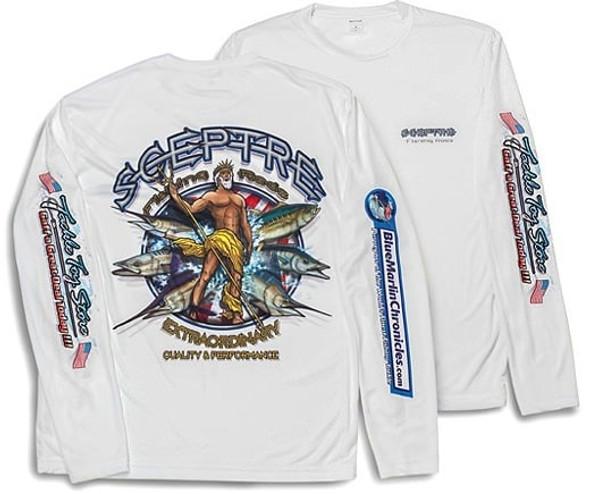 Long Sleeve Quick Dry White Fishing Shirt Size Large