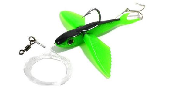 California Yummee Flying Fish - Green Black Fishing Kite Lure