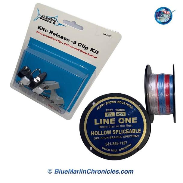 Kite Reel Line & 3 Release Clip Rigging Kit