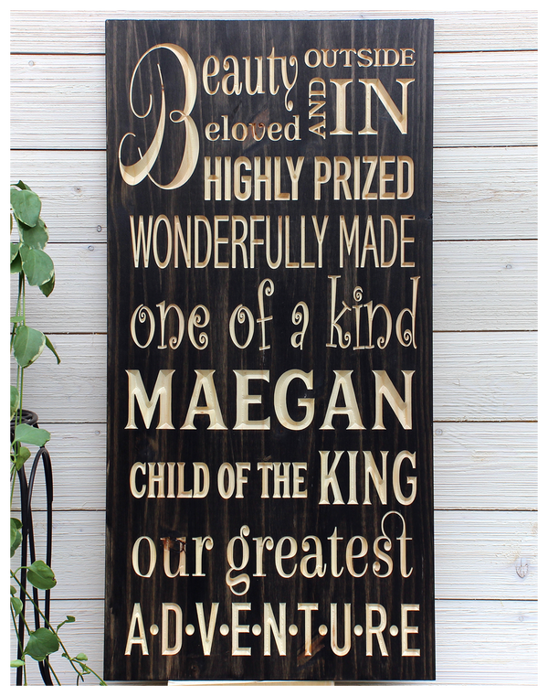 """Girls Inspirational Sign - Personalized - 16""""x32"""""""