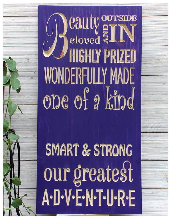 """Beauty Outside and In Girls Sign - Personalized - 16""""x32"""""""