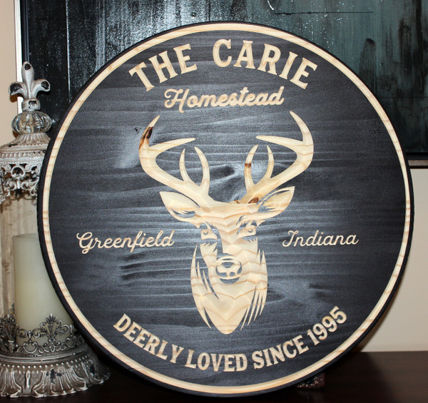 """Deerly Loved Personalized Family Sign - 24"""" Round"""