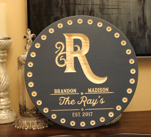 "Circles Personalized Family Name Est. Date Sign - 24"" Round"