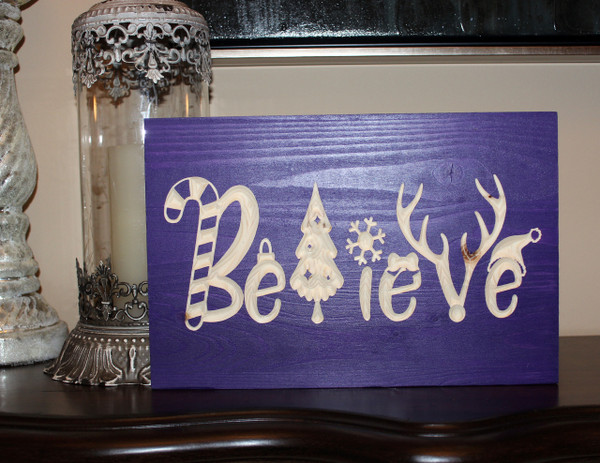 "Believe Christmas Sign 12""x8"""