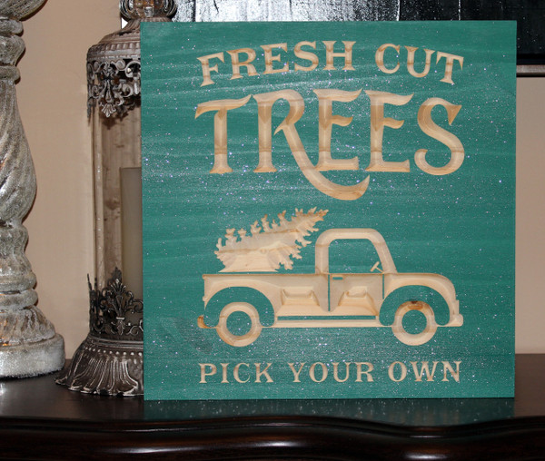 "Fresh Cut Trees Sign 12""x12"" or 18""x18"""