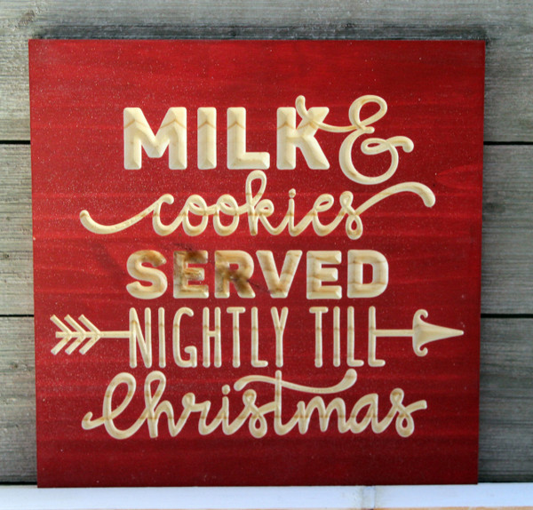 "Milk and Cookies for Santa Sign Carved Wood 12""x12"""