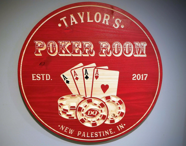 NEW! Poker Room Personalized Sign, Man Cave, Wood Bar Signs, Carved Sign, Poker Sign, Game Room Signs, Personalized Signs, Poker, Bar Sign, Cards