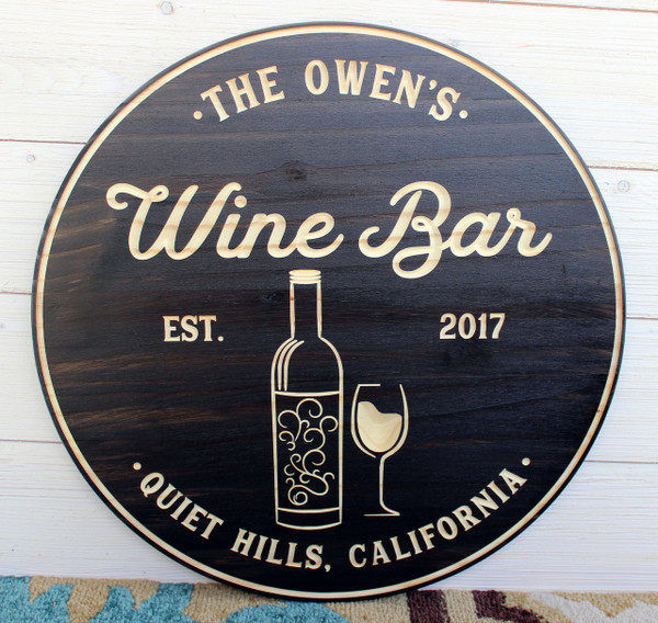 "Wine Bar Sign - Personalized Sign - Available in 18"" and 24"" Round"