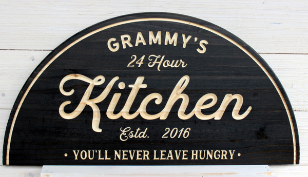 """Kitchen Sign - Personalized - Available in 18""""W x 9""""H and 24""""W x 12""""H - Half Round"""