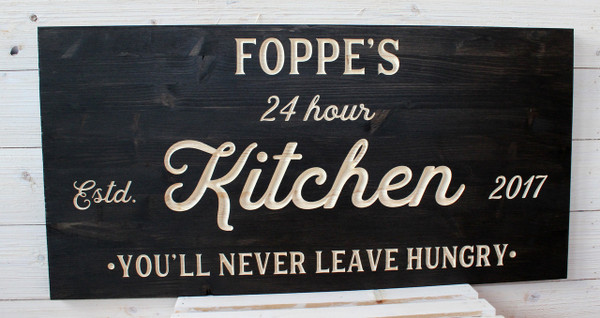 """Kitchen Sign - Personalized - Available in 32""""W x 16""""H and 24""""W x 12""""H - Rectangle"""