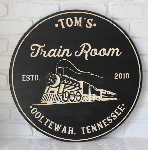 Train Room Sign Train Sign Personalized Sign Man Cave Wood Signs Game Room Signs Train Decor Rec Room Sign Gift Boys Room Signs