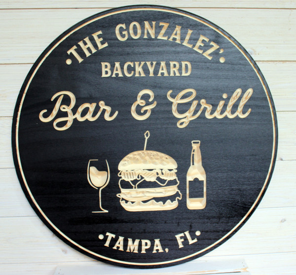 Bar & Grill Sign, Bar Signs, Personalized Bar Sign, Carved Wood Signs, Burger Sign, Custom Signs, Wedding Gift, Personalized Gift