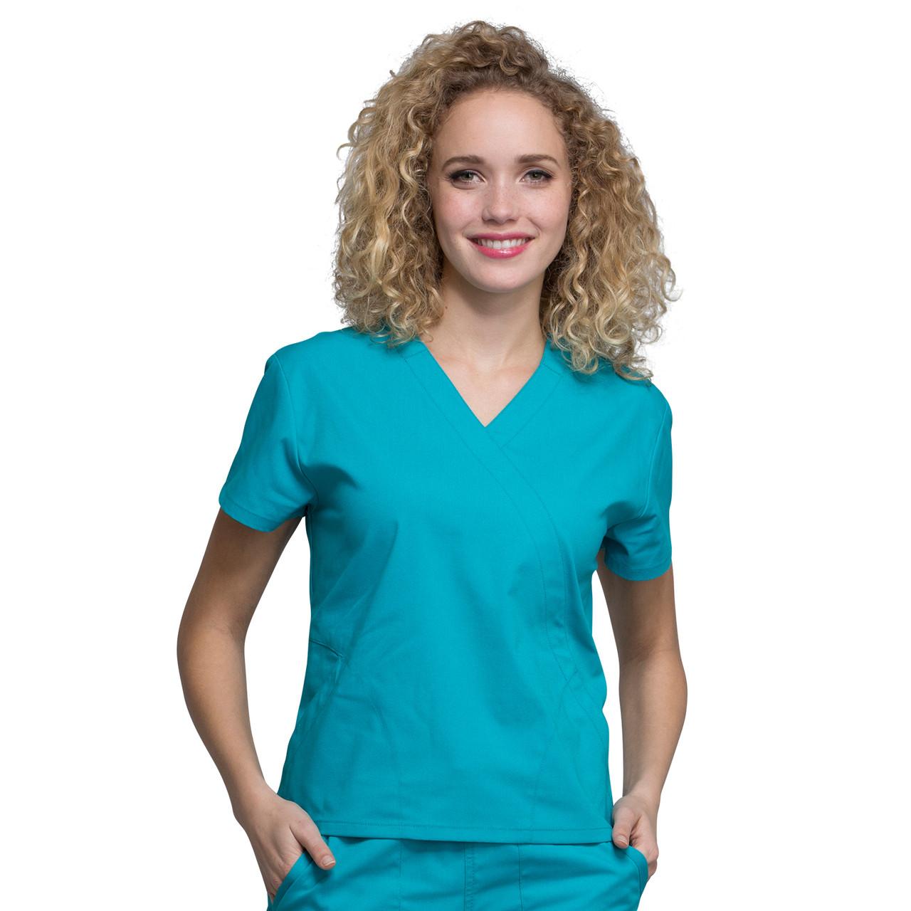 695c2f63330 Cherokee PROFESSIONALS Women's 2 Pocket Mock Wrap Scrubs Top ...