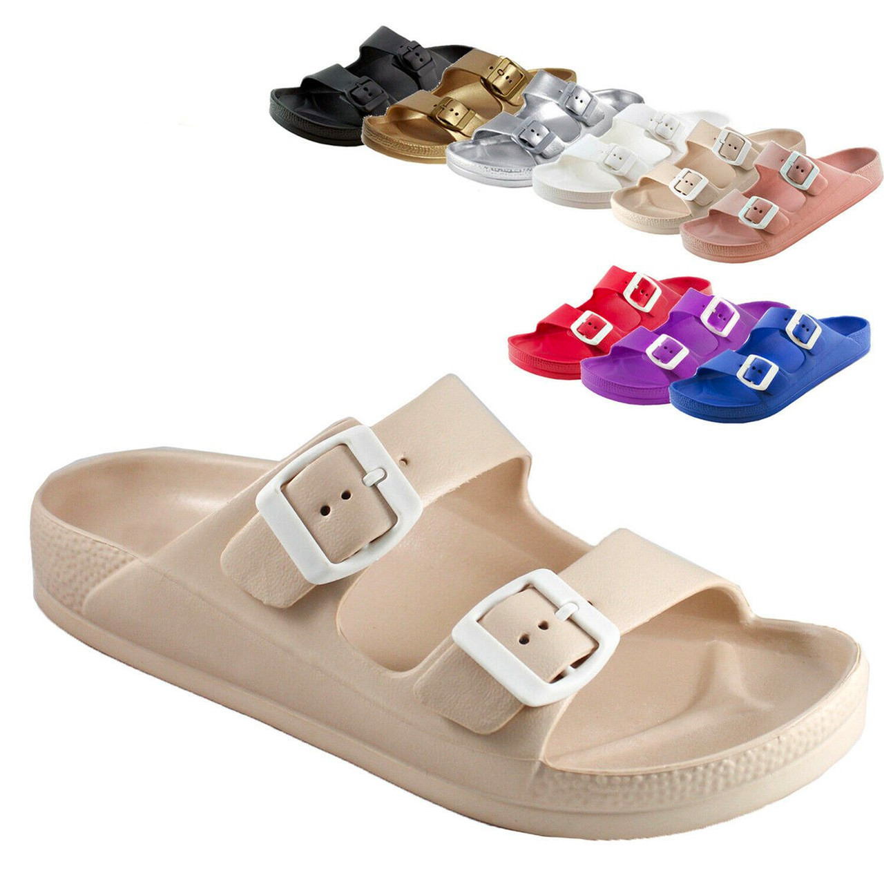 2b610674b Women s Lightweight Comfort Soft Slides EVA Adjustable Double Buckle Flat  Sandals