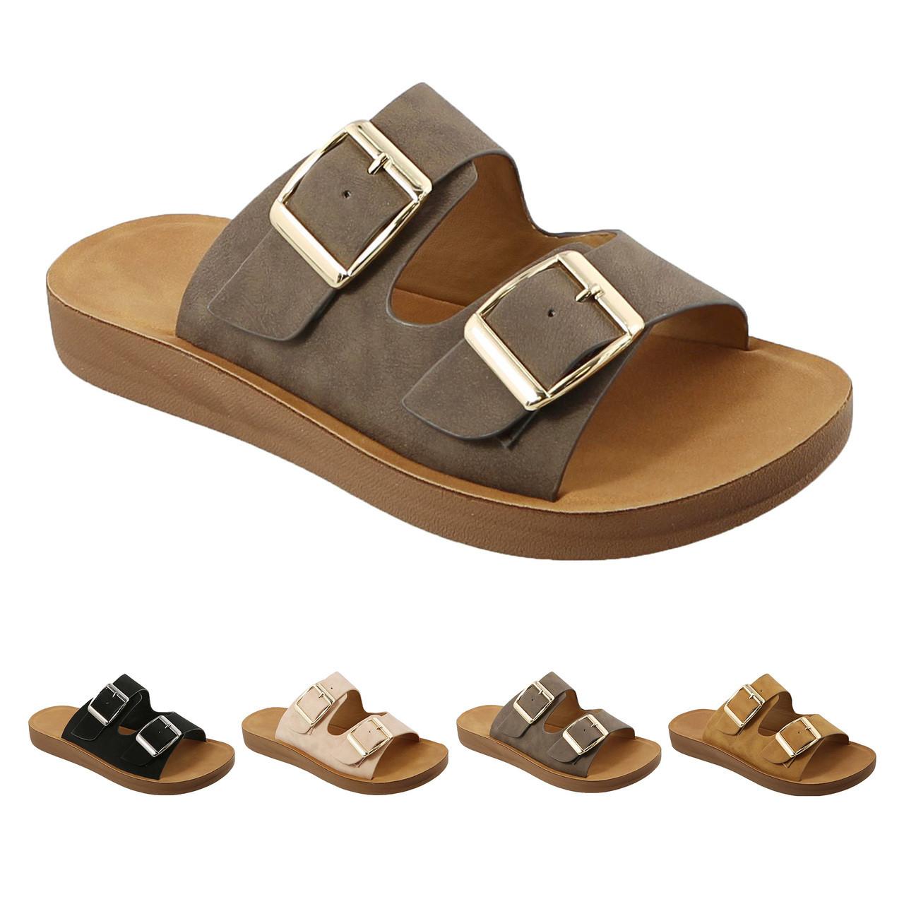 4e08a6260 Trends SNJ Women s Super Comfort Lightweight Flat Slide Double Strap Nubuck  Sandal