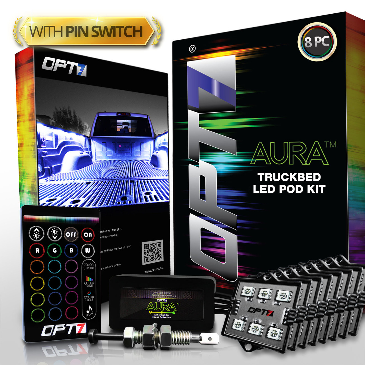 OE-Style Rocker Switch 1 Yr Warranty- iOS /& Android OPT7 Aura PRO Wireless Bluetooth 8pc Truck Bed LED Lighting Kit Sound Activated Multi-Color Lights