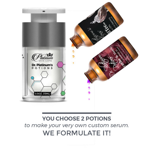 NEW LOOK! STRONGEST skin care,  Dr. Platinum Potions, highest percentages of actives, Available in 35% - 75% versions.  syn-coll, syn-tc, apple stem cells, citrus stem cells, matrixyl synthe'6, syn-ake, custom skin care