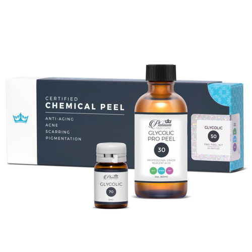 Glycolic acid peel kit. Available in 30%, 50% and 70%. CERTIFIED, individually sealed vials for safety and longevity.