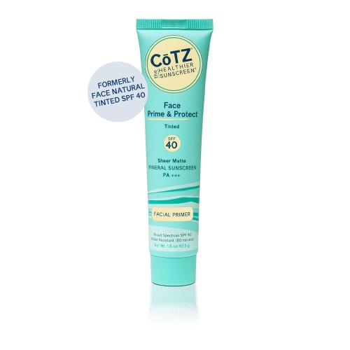 Cotz Face SPF 40 mattifying sunblock. Natural skin tone tint.