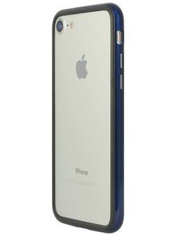 Arc bumper for iPhone SE (2nd Gen)/iPhone 8/iPhone 7 Blue Metal on gray iPhone back