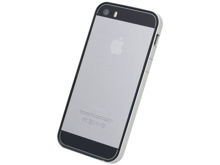 meet 09b91 8dcf9 Flat Bumper Silver & Black for iPhone SE 5s/5