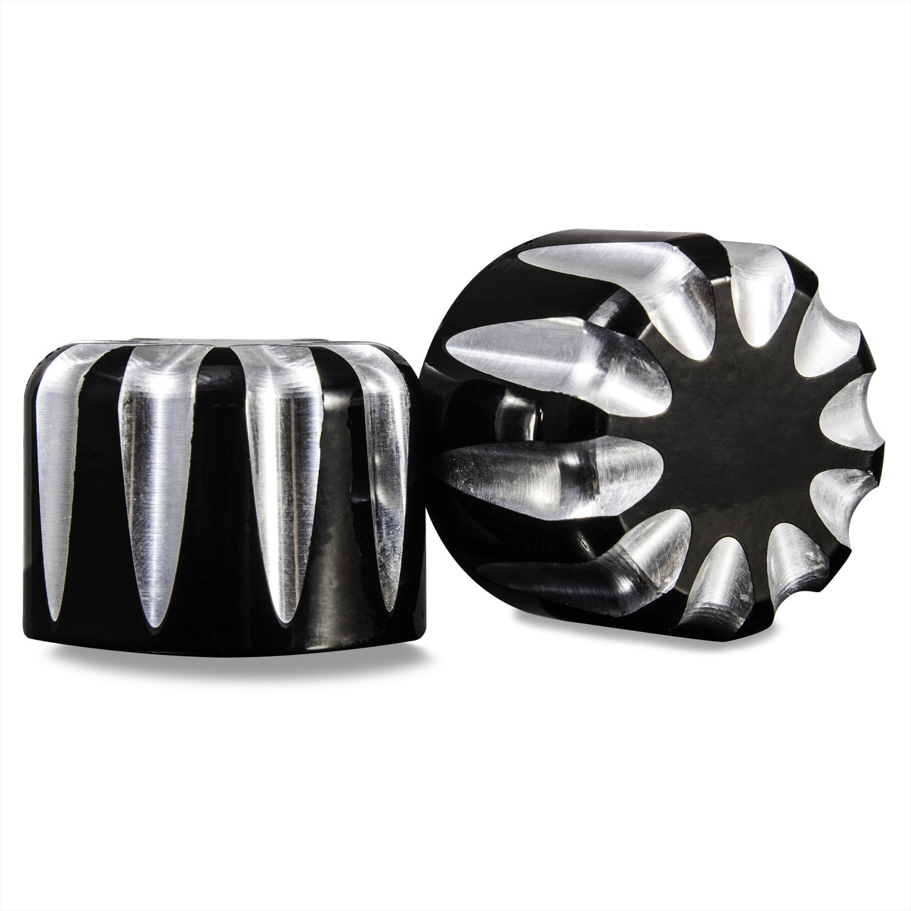 Black contrast cut 3D harley front axle covers
