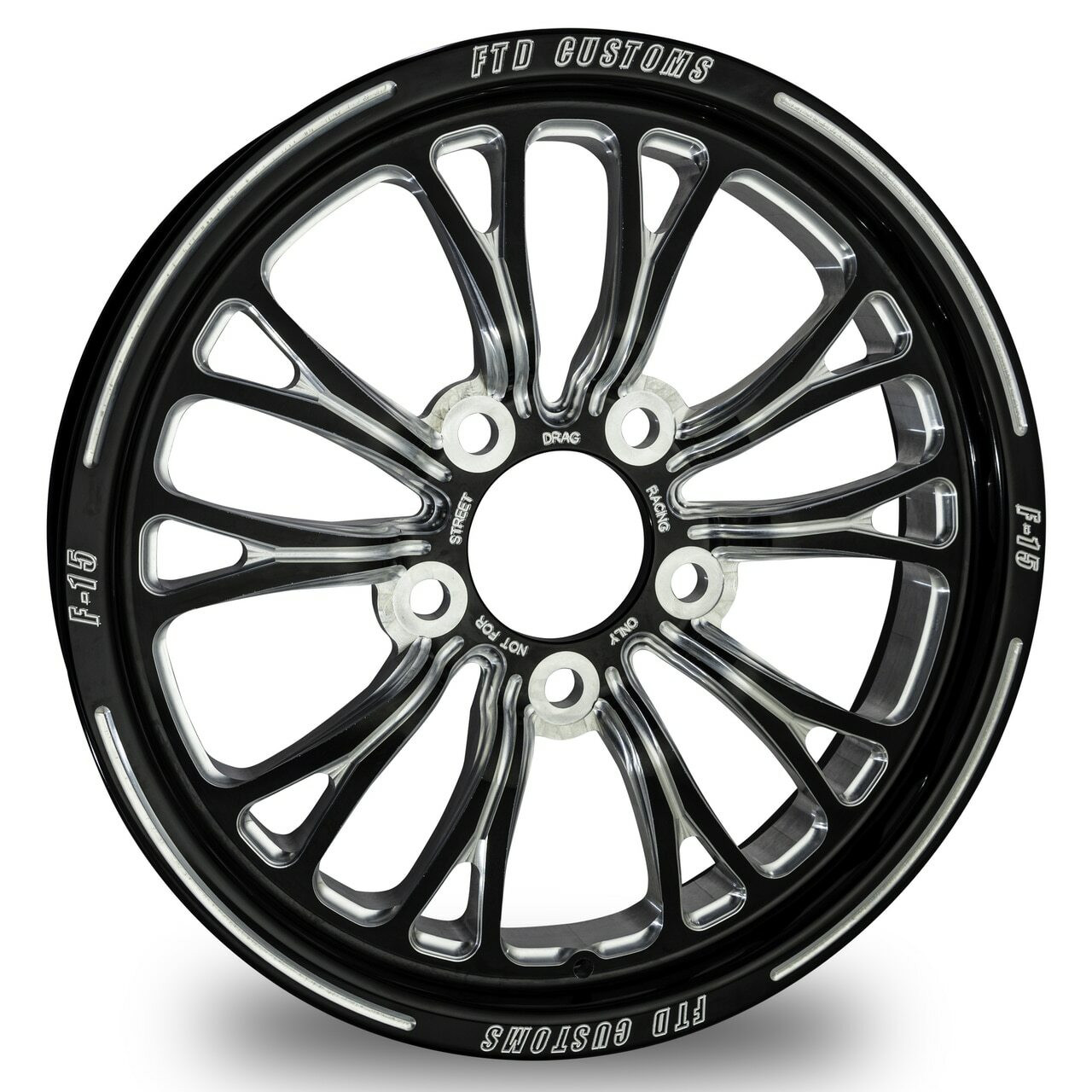 F15 Drag Racing Wheel - FTD Customs black anodized Drag Race Wheel