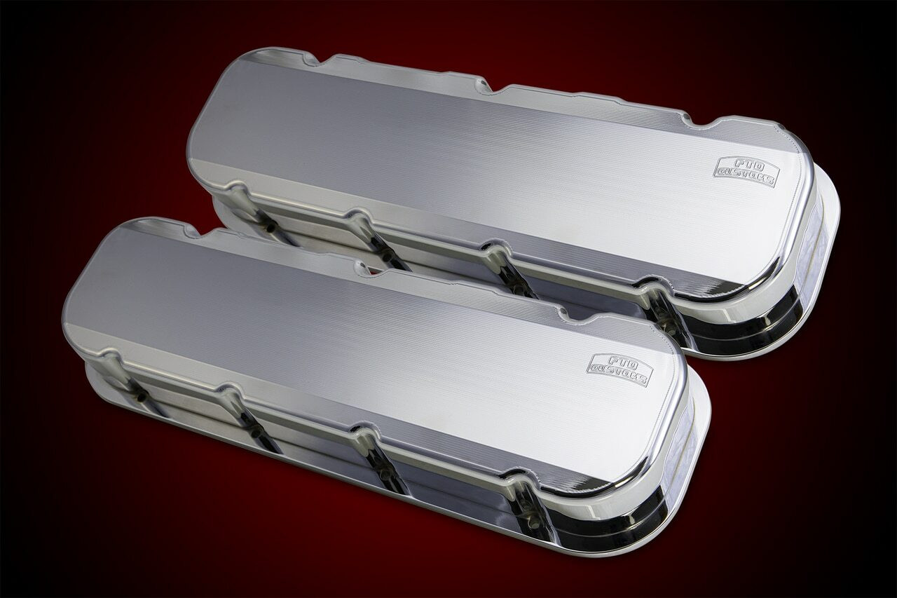Small block Chevy billet aluminum valve covers