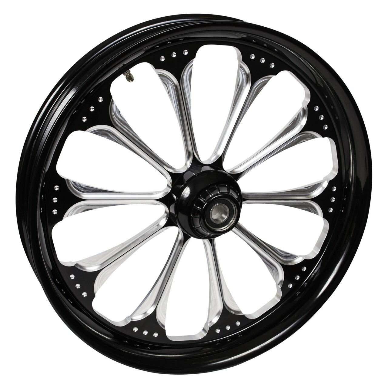 Indian Chieftain Motorcycle Wheels - Wizard Black Contrast