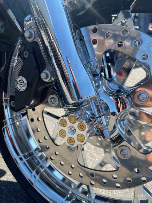 Chrome Revolver harley front axle covers
