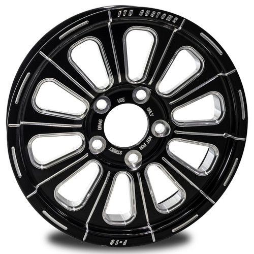 F16 Drag Racing Wheel - FTD Customs black anodized Drag Race Wheel