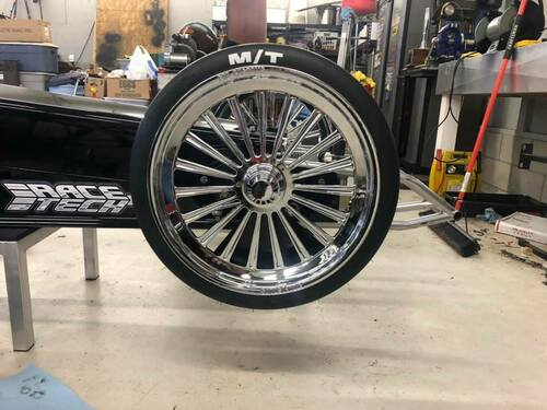 Chrome dragster spindle mount front wheel ftd customs racing wheels