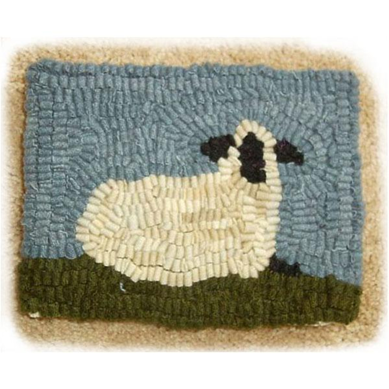 Cardinal on Oats  Background Primitive Rug Hooking Kit with Cut Wool Strips Great for Beginners