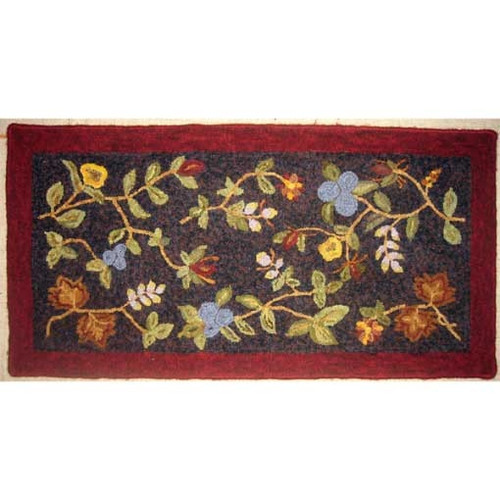 The Blue Tulip Fall Floral Rug Hooking Kit The Woolery