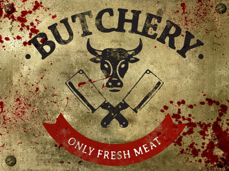 Butchery Sign - Halloween Decor Prop Road and Lawn Decoration Sticker