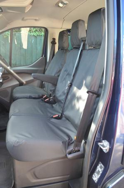 FORD TRANSIT CUSTOM 2013 TO DATE DRIVER AND DOUBLE PASSENGER NO CENTRAL WORK TRAY  BOTH TAILORED SEAT COVERS HEAVY DUTY