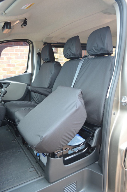 RENAULT TRAFIC 2014 TO DATE FRONT SIGNAL DRIVER & TWIN PASSENGER SEAT COVER HEAVY DUTY